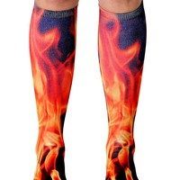 Flame Knee High Socks