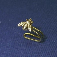Tiny gold bee charm Ear Cuff, Nose cuff, Tragus cuff, charm ear cuff,  Non Pierced Nose Ring, Cartilage, Fake piercing