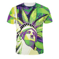 Fashion 3D weed t shirt top the Statue of Liberty print couples tee men women ha