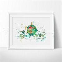 Cinderella Carriage Watercolor Art Print