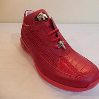 Mauri Candy Red Crocodile/Nappa Lace Up Sneakers 8900/2