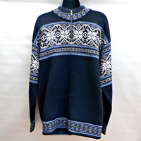 100% Wool Fair Isle Sweater by Nordic Design - Navy Blue - Nordic Ski Style - 1/2 Zip Collar - Mens Size Large (L)