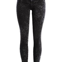 Women's Dark Acid Wash Skinny Jeans Denim Pants