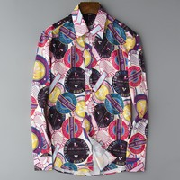Boys & Men Casual Print  Long Sleeve Buttons Shirt