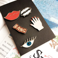 1 Set Bird Lip Fashion Cartoon Enamel Mini Button Brooch Pin Jewelry Accessories For Women Shirt Collar Pin Brooches Badge Gift