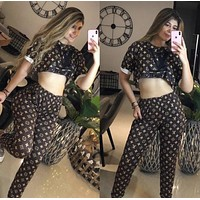 LV Louis Vuitton fashion casual women's clothing printing printing and dyeing casual summer two-piece suit