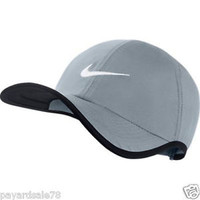 NIKE FEATHER LIGHT DRI-FIT GRAY / BLACK / WHITE TENNIS CAP HAT GOLF UNISEX ADULT
