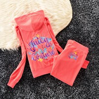 Juicy Couture Studded Colorful Flowers Velour Tracksuit 6023 2pcs Women Suits Red