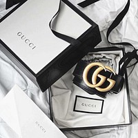 GUCCI classic retro double G buckle smooth buckle belt