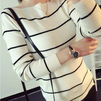 Striped Long Sleeve Knit Sweater