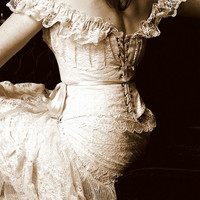Romantic Lace Wedding Dress, Gown, Corset and Skirt, Rustic Country Weddings