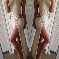 Off White Sleeveless Cut Out High Slit Dress