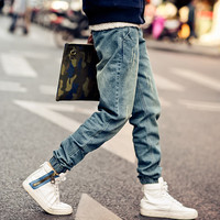 2015 New Fashion mens Korean Style Distrressed Jogger folds Jeans Gradient Slim Fit Pants Skinny Stretch Trousers,JA265