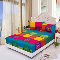 Fitted bed sheet summer elastic bed cover mattress covers cushion cover bed clothes bedspread villa town bed sheet 3pcs/set