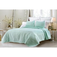 OVERSIZED-3PC QUILTED COVERLET SET- SAGE