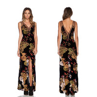 Summer Print Lace Sexy Backless Split Irregular Dress One Piece Dress [4917747972]