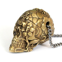 """Sugar Skull Necklace Burnished Yellow Bronze Sugar Skull Pendant Necklace on 32"""" Gunmetal Chain- An Exclusive of Moon Raven Designs"""