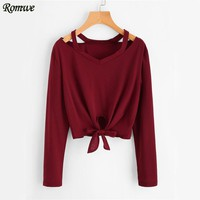 Burgundy Knot T-shirt Fall Women Sexy Cut Out V Neck Casual Tops Fashion New Long Sleeve Casual Bow Tie Basic T-shirt