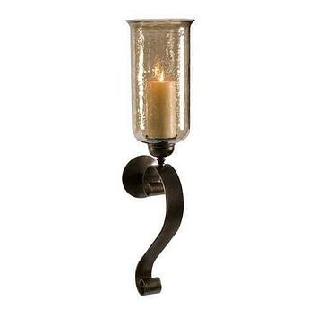 Scroll Base Wall Sconce with Brown Luster Glass-IMAX