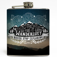 Never Stop Exploring - Adventure Flask