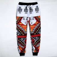 Newest Fashion Mens/Womens Joggers Pants 3D Graphic Print Playing Card Spade Queen mens Sweatpants Unisex Trousers