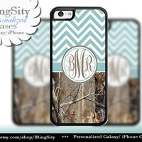 Blue Chevron Monogram iPhone 5C 6 Case Plus iPhone 5s 4 Ipod 4 5 Touch case Real Tree Camo Aqua Teal Zig Zag Personalized Country Girl