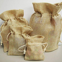 Faux Burlap Pouches Gift Bags w/ Cotton Drawstrings, 6-Piece