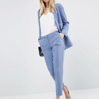 ASOS Tailored Crepe Suit in Slate Blue at asos.com