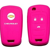 Chevrolet Pink Silicone Protecting Key Case Cover Fob Holder (Single Pack)