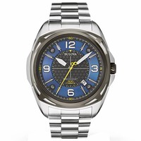 Bulova 98B224 Men's Precisionist Blue & Grey Dial Stainless Steel Bracelet Dive Watch