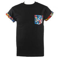 Captain America The First Avenger Marvel Comics Patched Pocket Roll-up T-Shirt