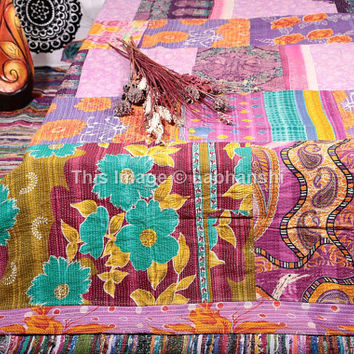 Vintage Kantha Patchwork Quilt , Reversible Queen Quilt , Amish Quilt Throw Blanket , Gypsy Bedding , Indian Quilt , Floral Queen Bedding