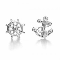 Silver Anchor and Helm Earrings