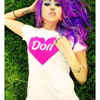 """Women's """"Doll"""" Tee By Dirty Shirty (White)"""