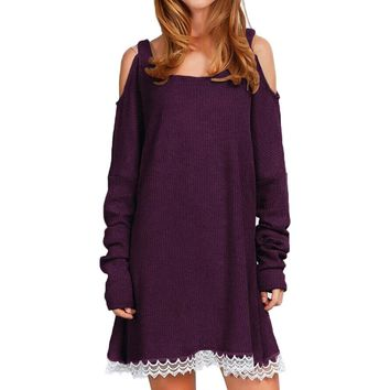 Fall Cold Shoulder Purple Sweater Dress with Lace Trim
