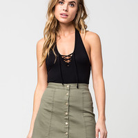 H.I.P. Lace Up Womens Halter Top | Knit Tops & Tees