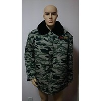 Men's Winter Camo Camouflage Parka Coat Top Jacket Thick Warm Chic With Faux Fur