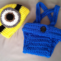 Despicable Me Minion Hat Diaper Cover Overall Suspenders