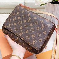 Hipgirls LV New fashion monogram leather shoulder bag crossbody bag women
