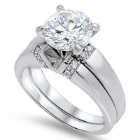 Sterling Silver CZ 3 carat Brilliant Round Cut Solitaire Wedding Ring Set 5-10