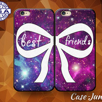 Best Friends Pair Matching Case BFF Bow Galaxy Space Custom Case For iPhone 4 and 4s and iPhone 5 and 5s and 5c and iPhone 6 and 6 Plus +