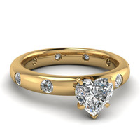 1.14ct G-SI1 RING HEART SHAPE DIAMOND ENGAGEMENT GIA CERTIFIED 18KT WHITE GOLD GOLD
