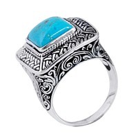 """SR-5396-TQ-9"""" Sterling Silver Ring With Turquoise"""
