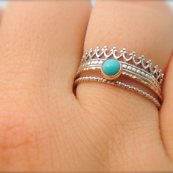 Turquoise Sleeping Beauty Cabochon14kt SOLID Gold Ring // Boho // Strings of Gold // Skinny Gemstone Ring  // made to order