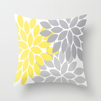 Pillow Cover with Insert Flower Petals Throw Sewn or Zipper Closure Double Sided Print Custom Colors Yellow Gray 14x14 16x16 18x18 20x20