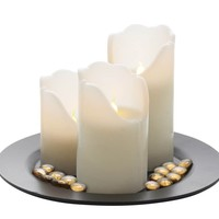 Flameless LED Pillar Candle Trio With Remote And Tray