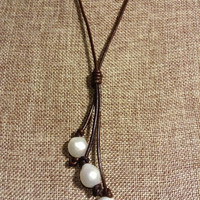 Pearl Leather Necklace Multi Strand Knot Baroque Freshwater Pearl Long Necklace