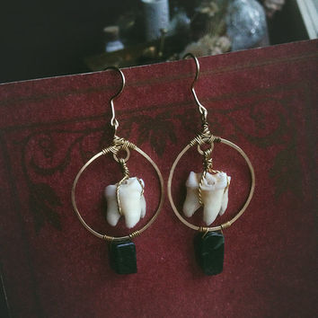 deer tooth earrings • witch earrings - hammered brass earrings - vulture culture - witchy jewelry - real teeth jewelry - deer totem