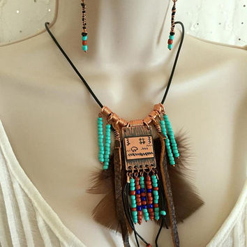 Copper Southwestern Necklace and Earring set, Copper Feather Necklace, Arizona Jewelry, Beaded Feather necklace,  Artisan Jewelry