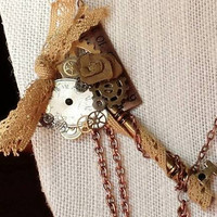 Steampunk necklace, Victorian necklace, Vintage jewelry, watch face, gears, cogs, skeleton key jewelry, Swarvoski crystals and lace ribbon